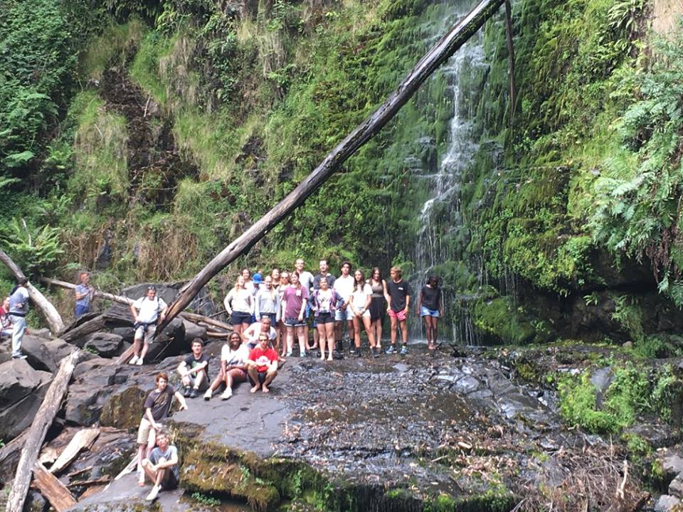 Some Youngies game enough to climb to Erskine Falls.