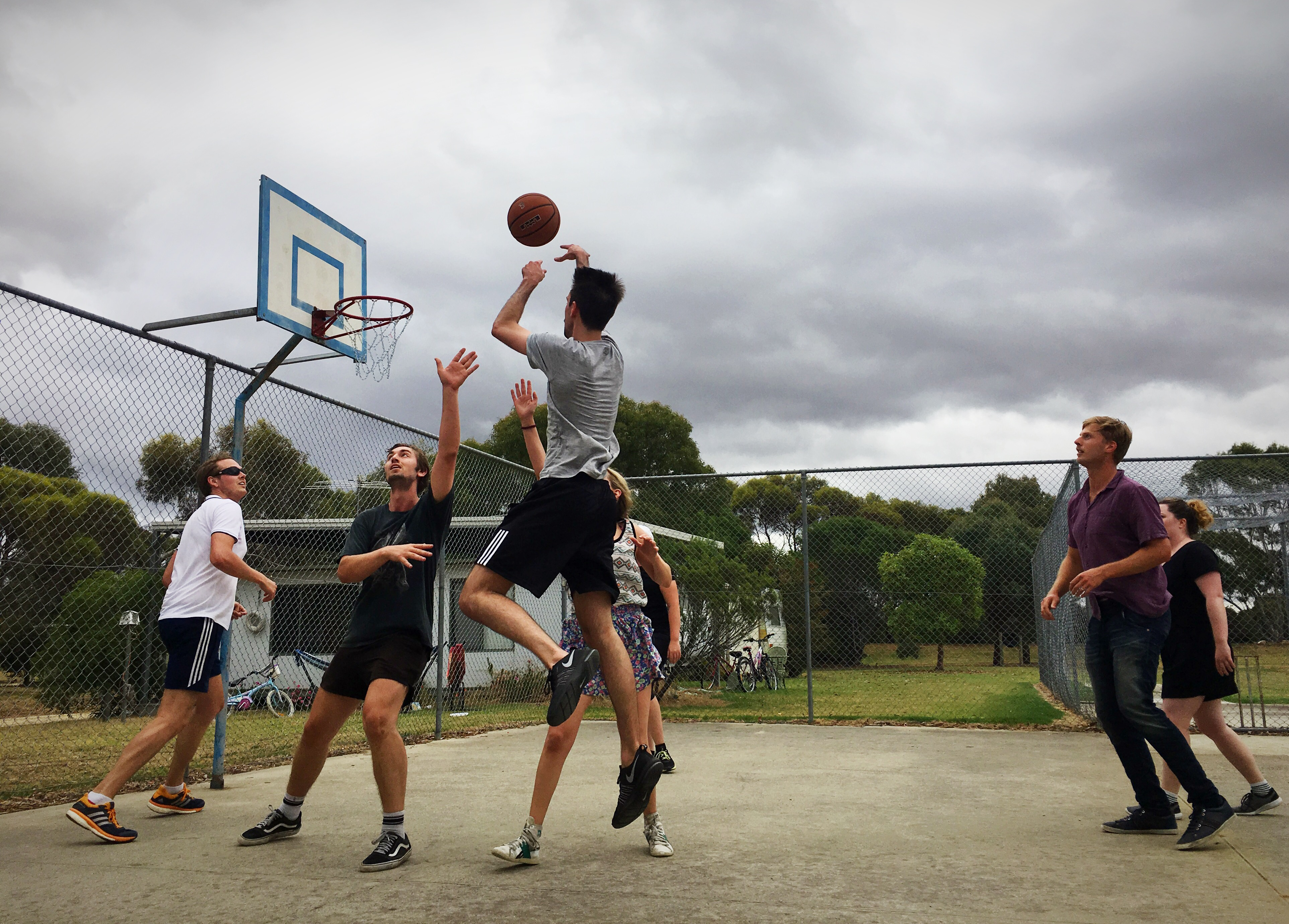 Sports out on the Basketball court.
