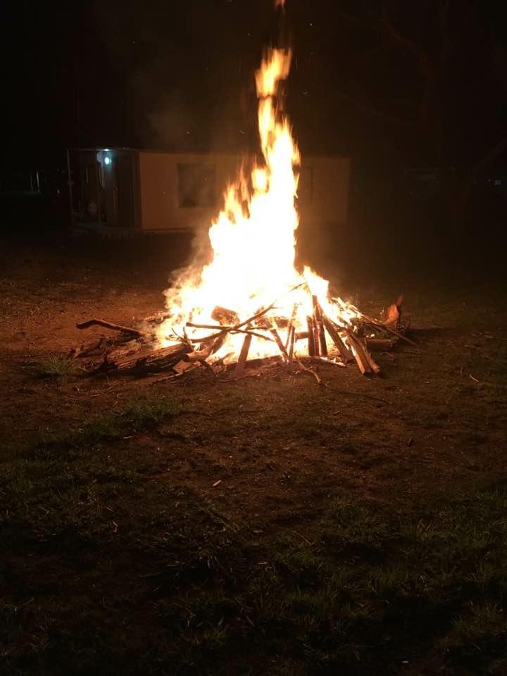 Bonfire on the last night.